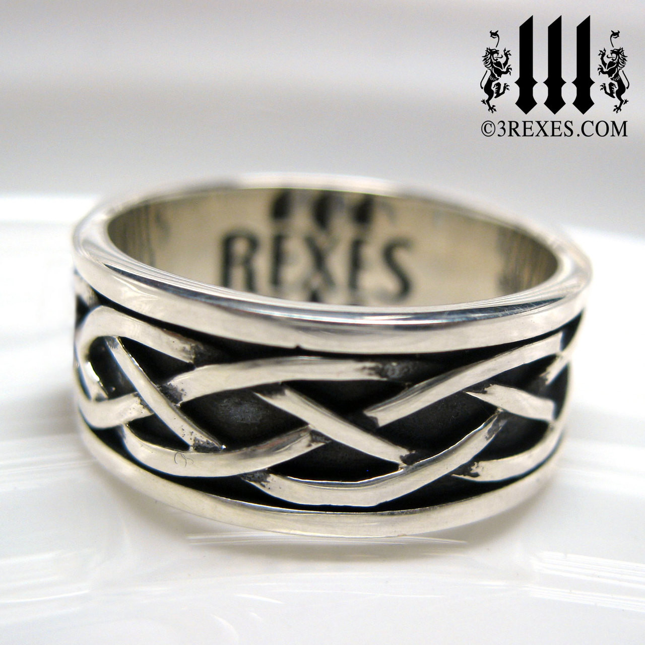 This is a graphic of Celtic Soul Silver Knot Ring Gothic Wedding Band For Men And Women