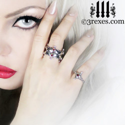 lovers fairy crown ring & imp ring with gothic garnet