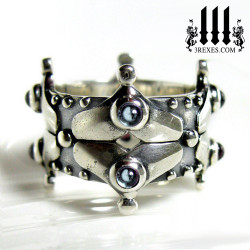 medieval silver wedding crown ring with 8 blue topaz cabochons