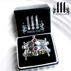 medieval silver wedding crown ring with 3 rexes glam box, gothic garnets