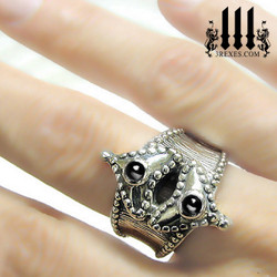 silver medieval fairy tale ring on model, heart promise band ring for your girlfriend