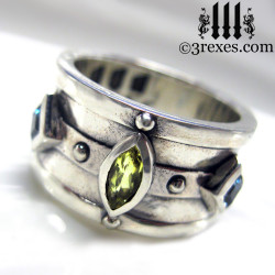 mens wedding ring medieval king band with gothic .925 sterling silver green peridot