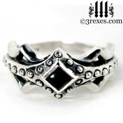 silver medieval engagement ring with black onyx stone