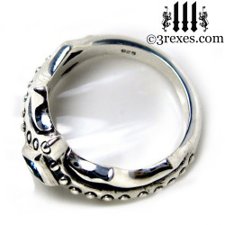 silver medieval engagement ring top detail