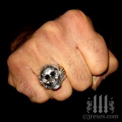 bad ass silver skull biker ring