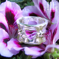 heart wedding ring, silver alt designer for fairytale engagement, gay couples