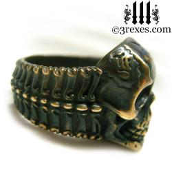 bronze biker skull ring bone band