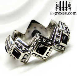 silver renaissance wedding ring with black onyx cabochon stones back view