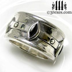 moorish marquise gothic wedding ring with black onyx stones