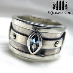 moorish marquise gothic wedding ring with blue topaz stones