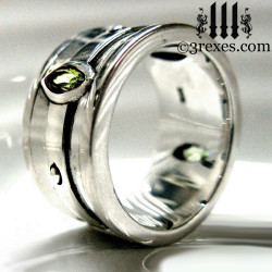 mens silver gothic wedding ring with green peridot stones, moorish marquise goth band for him