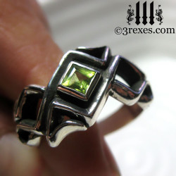celtic ring with green peridot stone .925 sterling silver gothic mens medieval wedding band