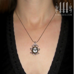 """short chain silver scarab necklace .925 sterling steampunk charm bug insect jewelry pagan beetle jewellery 3 rexes designer on 30"""" snake chain"""