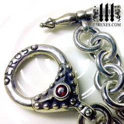 "Eros Heart Charm Bracelet .925 Sterling Silver Gothic Fairytale Red Garnet Stone 8"" detail collectors jewelry designer"