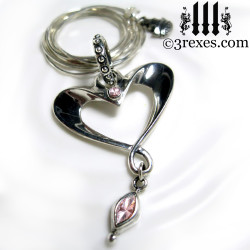 eros heart necklace long snake chain with pink cz