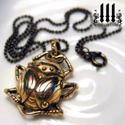 egyptian beetle necklace bronze ball chain