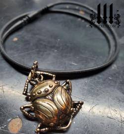 egyptian beetle necklace bronze black rubber choker