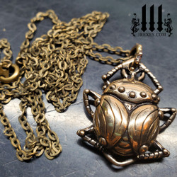 egyptian beetle necklace bronze box chain