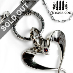 gothic silver fairy tale heart necklace with garnet stones punk rock jewelry medieval jewellery