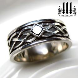 mens black diamond celtic knot wedding ring mens medieval wedding ring