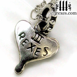 medieval fairy tale silver studded heart necklace back detail