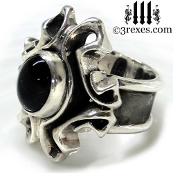 gothic silver wedding ring with black onyx stone, alternative engagement band, victorian jewelry.\, side view