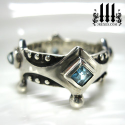 ladies goth wedding ring, medieval crown ring with blue topaz, .925 sterling silver brandy wine band with studs, princess stones, alternative alt engagement band