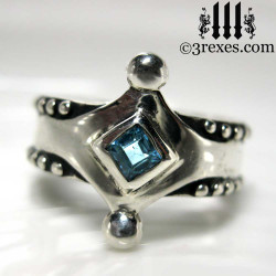 the majestic medieval ring 925 sterling silver gothic blue topaz