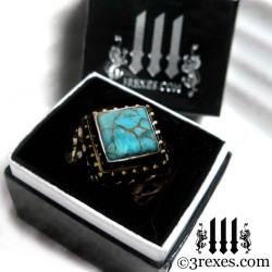 3 rexes glam ring box with raven love antiqued brass wedding ring with blue copper turquoise