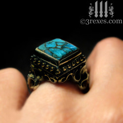 raven love antiqued brass wedding ring with blue copper turquoise model detail