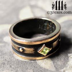 Bronze Moorish Gothic 1 Stone Wedding Ring