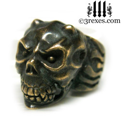 bronze gargoyle devil ring with closed jaw