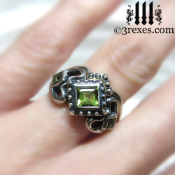 princess love gothic engagement ring with 1 stacking rings ladies silver wedding ring womans medieval engagement band with magical august birthstone green peridot princess love ring wicca jewelry