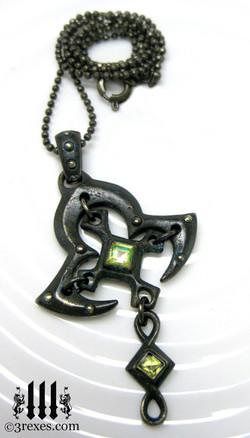 moorish princess dark brass cross necklace with gothic green peridot