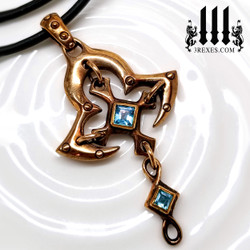 Gothic Cross Necklace | Bronze metal with blue topaz stones and rubber choker