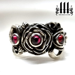 Rose moon spider ring gothic sterling silver jewelry. Gift for her