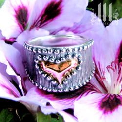 rose gold heart ring for women, sterling silver band on flower