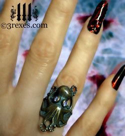 antiqued bronze octopus ring model view
