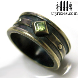 dark brass moorish gothic ring with green peridot