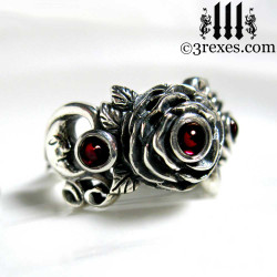 gothic silver rose moon spider ring with garnet cabochon stone womans wedding ring