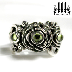 gothic silver wedding ring, rose moon spider ring, green peridot cabochon stone, womans fairytale ring, promise ring, august birthstone