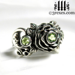 gothic silver rose moon spider ring with green peridot faceted stone womans wedding ring