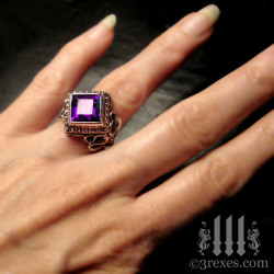 purple gothic wedding ring with amethyst stone for royalty. Silver princess jewellery for alt engagement.