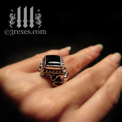 vampire gothic ring with black onyx cabochon, alt alternative wedding for unique ceremony.