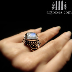 magic moonstone ring model detail. unique promise ring for pagan ceremony. gothic girl