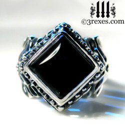 ladies gothic wedding ring with black onyx cabochon, silver goth engagement band for vampires