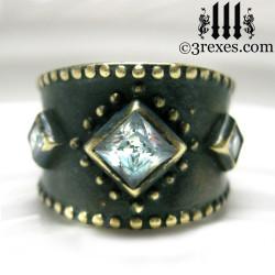 dark medieval wedding ring gothic white cz