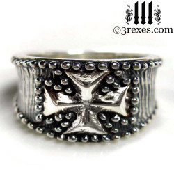 mens studded iron cross ring, .925 sterling silver gothic medieval band, knights templar masonic jewelry, biker ring, large mens size