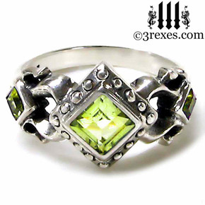 womens medieval wedding ring with green peridot stones, .925 sterling silver, ladies gothic engagement band, princess promise ring, gift for her