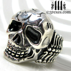 silver skull biker ring .925 sterling left view
